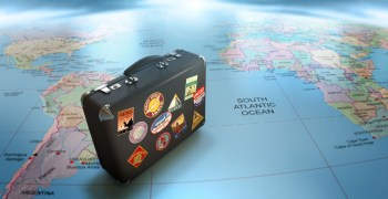 suitcase on a map